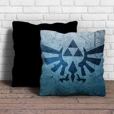 This is triforce the legend of zelda pillow cushion -Removable poly/cotton cover pillows are soft and wrinkle free. -Hidden zipper enclosure. -Do not include insert. -Finished with a black or white ba