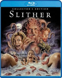 Scream Factory has revealed the extras for its upcoming Collector's Edition Blu-ray release of Slither, which streets on August 1. Justin Osbourn designed the new artwork, while the original poster will be on the reverse side.    The 2006 horror-comedy is written and directed by James Gunn (Guardians of the Galaxy) and stars Nathan Fillion, Elizabeth Banks, Gregg Henry, and Michael Rooker.