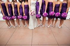 Deep purple bridesmaid dresses are paired with radiant orchid bouquets. Flowers by Ingela Floral Design. Wedding Venue: InterContinental The Clement Monterey. I don't like the dresses, but the colors are definitely wonderful. Silver Bridesmaid Dresses, Purple Wedding Bouquets, Wedding Bridesmaids, Wedding Colors, Wedding Dresses, Trendy Wedding, Dream Wedding, Wedding Shit, Purple Orchids