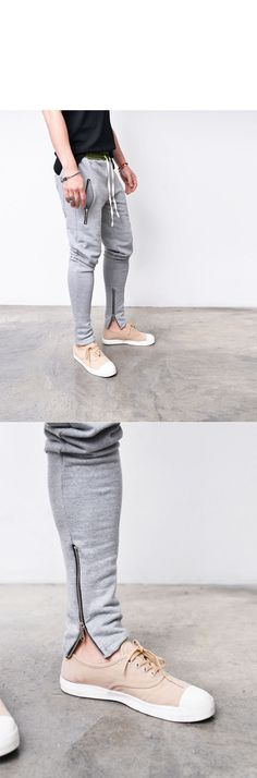Bottoms :: Sweatpants :: Contrast Banding Zip Legs Semi Baggy-Sweatpants 271 - Mens Fashion Clothing For An Attractive Guy Look