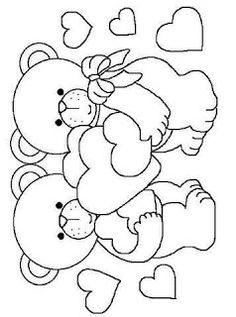 Tita Carré Ago e Tricot Teddy Bear Coloring Pages, Heart Coloring Pages, Cute Coloring Pages, Adult Coloring Pages, Coloring Pages For Kids, Coloring Sheets, Coloring Books, Art Drawings For Kids, Easy Drawings