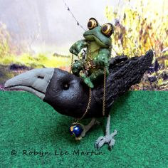 Crow and Riding Toad Soft Sculpture by MotherlodeToad on Etsy $48.00 + Shipping