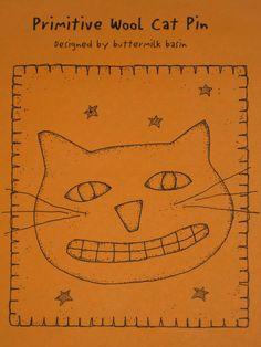Primitive Cat Pattern Wool Pin Buttermilk Basin Folk Art Unused Uncut. $3,00, via Etsy.