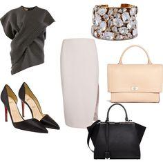#office #inspiration #bag #black #pastels #stones #cuff #pencil #skirt #court #shoes