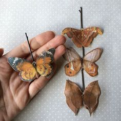 Soft - Handmade Bio Cotton and Silk Organza Orange Shades Butterflies (Monarch) Hair Bobby Pin - 4 pieces by TheButterfliesShop on Etsy