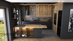Kitchen Room Design, Home Decor Kitchen, Kitchen Furniture, Condo Design, Küchen Design, House Design, Kitchen Under Stairs, Industrial House, Black Kitchens