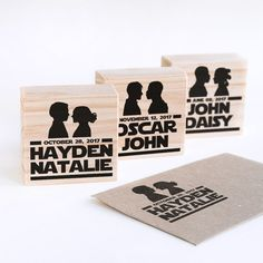 Star Wars Wedding, choose your Star Wars silhouette, custom wedding stamp, Star Wars custom stamp, Star Wars wedding favor, geeky wedding, Now you can have a custom Star Wars Wedding stamp with the silhouettes you want! Make the combination you want to find the perfect stamp for you. You will find all the silhouettes available in one listing photo