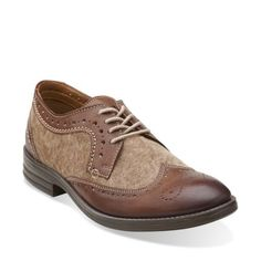 Delsin Wing Brown Combi Lea - Men's Oxford Shoes - Clarks® Shoes - Clarks