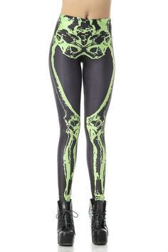 ❤ X-Ray Skeleton Leggings in Contrast Look @ $13.93 USD.✔ Free Shipping in USA. #leggings