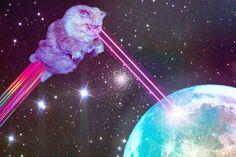 suuper gato destruyendo la tierra con su rasho-laser