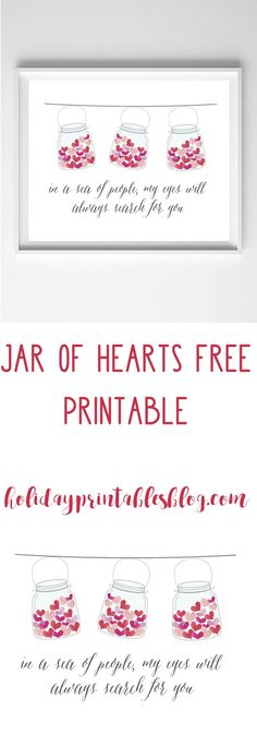 Jar of Hearts Free Printable | Valentine's Day Printable Art | Love Quote Printable | Valentine's Day Gift Idea | Red Pink Watercolor Printable