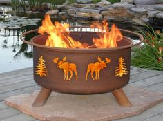 Entrancing Practical Outdoor Gas Fireplace: Entrancing Outdoor Natural Gas Fireplace Design In Camp Fire Form And Decorative Chamber Pot On Wooden Deck Sides Of Pool ~ dalatday.com Exterior Design Inspiration