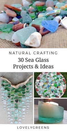30 Sea Glass Ideas & Projects including jewelry, candles, stepping stones, wall art, and Sea Glass Mosaic, Sea Glass Art, Glass Wall Art, Stained Glass Art, Sea Glass Jewelry, Jewelry Candles, Sea Glass Crafts, Sea Crafts, Seashell Crafts