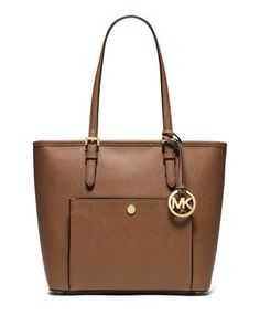MICHAEL Michael Kors saffiano leather tote bag. Golden hardware. Buckled flat…