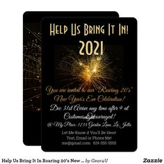 Help Us Bring It In Roaring 20's New Year Invitation New Years Eve Invitations, Holiday Invitations, Custom Invitations, Party Invitations, Art Deco Font, New Year's Eve Celebrations, Gold Letters, Roaring 20s, You Are Invited