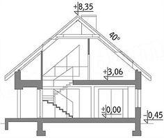 Przekrój pionowy projektu Murator M210 Jasna przestrzeń Attic Master Suite, Diagram, Art, Craft Art, Kunst, Gcse Art, Sanat