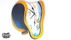 Twisted - Melting clock made of plywood Melting Clock, Surreal Artwork, Acrylic Spray Paint, Unique Wall Clocks, Salvador Dali, Weird Art, Have A Great Day, Plywood, Primary Colors