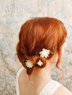 Bohemian hair pins, white flower bobby pins, woodland hair clips, bridal accessories - woodland sprite