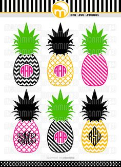 Items similar to Pineapple Monogram Frames SVG Cut Files for Vinyl Cutters, Screen Printing, Silhouette, Die Cut Machines, & More on Etsy Vinyl Monogram, Monogram Frame, Monogram Shirts, Silhouette Cameo Projects, Silhouette Design, Vinyl Crafts, Vinyl Projects, Cricut Vinyl, Vinyl Decals