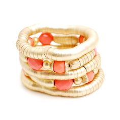 My fave combo of the moment: coral & gold. Snake Metal Bracelet by Zenzii