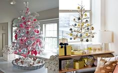 Small table christmas tree inspiration... 2 glitzy options, one lush & one simple