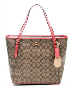 Another great find on #zulily! Khaki & Coral Peyton Signature Zip Top Tote by Coach #zulilyfinds