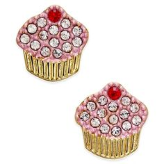 kate spade new york Gold-Tone Pave Cupcake Stud Earrings ($48) ❤ liked on Polyvore featuring jewelry, earrings, gold, stud earring set, goldtone jewelry, pave earrings, kate spade jewelry and kate spade earrings