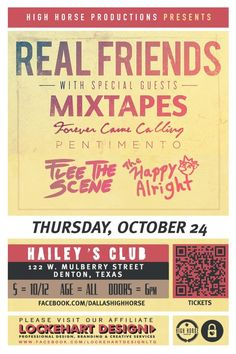 October 24 @ Hailey's - High Horse Productions presents Real Friends | Mixtapes | Forever Came Calling | Pentimento | Flee The Scene