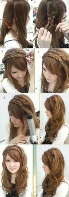 Braided HeadBand hair-and-beauty Kawaii Hairstyles, Pretty Hairstyles, Easy Hairstyles, Stylish Hairstyles, Amazing Hairstyles, Everyday Hairstyles, Celebrity Hairstyles, Summer Hairstyles, Wedding Hairstyles