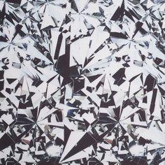 Black/White Broken Glass Digitally Printed Stretch Neoprene Fabric by the Yard | Mood Fabrics