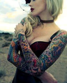 Colourful bird sleeve - www.tattoorave.com Full sleeve tattoos girls @Wendy Felts Werley-Williams.tattoorave.com #tattoorave