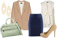 A pencil skirt is a no-brainer for the office, and paired with a chic boyfriend blazer, an ultra-feminine blouse, and an icy pastel satchel, this staple is anything but staid.