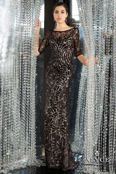 15 Evening Maxi Dresses, Elegant 3/4 sleeve sequined lace fitted long gown