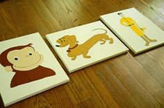 Curious George, Hundley, and the Man with the Yellow Hat, Nursery Art, Child's Room Art, Playroom Art, Birthday Party Decor on Etsy, $89.99