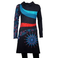 Edgy ethnic inspired dress with gorgeous mandala prints and embroidery details - 100 % cotton - MANTRA