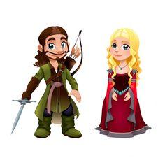 Casal Medieval Knight e princesa Vector desenhos animados isolado personagem Vetor grátis