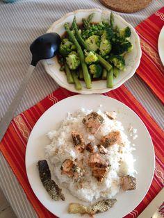 Salmon spiced by Green tea and asparagus