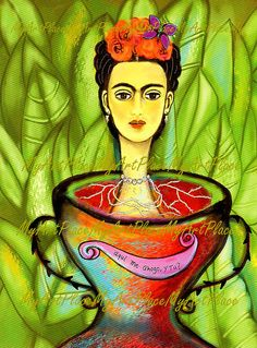 "Frida Kahlo Art, Postcards, Art Prints, ""Aqui Me Ahogo, Y Tu,""  Portraits, Mexico, Latin, Surreal, Surrealism"