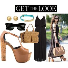 Black, Light Brown, Gold Outfit  Featuring JESSICA SIMPSON: DANY - CEDAR SILK