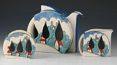 Clarice Cliff Stamford shape trio or partial Early Morning teaset (teapot, creamer and sugar) in the May Ave pattern, w/ later teardrop spout, c. 1930-1936, handpainted enamel on glaze, ceramic, UK