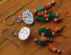 Rustic Fishes And Sun White Rust Button by MountainMagicJewelry