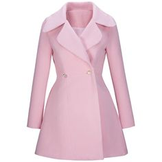 Lapel Plain Swing Woolen Coat ($39) ❤ liked on Polyvore featuring outerwear, coats, jackets, casacos, coats & jackets, pink wool coat, lapel coat, wool coat, long wool coat and long pink coat