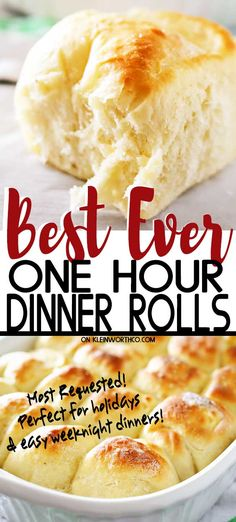 One Hour Dinner Rolls are made with this easy yeast rolls recipe. Buttery, soft, fluffy dinner rolls are undeniably delicious & literally, take just 60 minutes to make! My favorite roll recipe ever! The perfect recipe for holidays & gatherings. Quick Dinner Rolls, No Yeast Dinner Rolls, Fluffy Dinner Rolls, Dinner Rolls Recipe, Basic Dinner Roll Recipe, Soft Rolls Recipe, Easy Homemade Rolls, Homemade Dinner Rolls, Easy Rolls