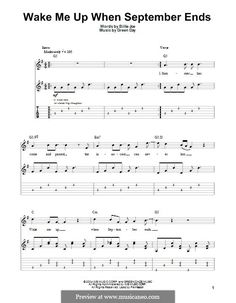Wake Me Up When September Ends (Green Day): For guitar with tab by Billie Joe Armstrong, Tré Cool, Michael Pritchard Guitar Tabs Acoustic, Guitar Tabs And Chords, Guitar Chords For Songs, Bass Guitar Lessons, Ukulele Tabs, Guitar Sheet Music, Drum Lessons, Ukulele Chords, Guitar Tips