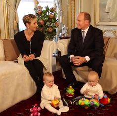 Noblesse et Royautés: Interview with the Princely Family of Monaco, December 2015-Princess Charlene, Prince Albert and the twins Princess Gabriella and Hereditary Prince Jacques