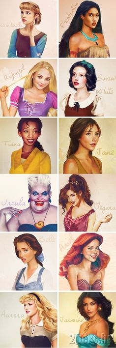 Realistic drawing of Disney women- I like how they look their actual age that they were in the movie