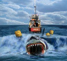 Jaws Film, Jaws Movie, Jaws 2, Best Movie Posters, Movie Poster Art, Classic Horror Movies, Horror Films, Steven Spielberg Movies, Shark Photos