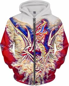 Dragon Rebirth Trance Custom Fantasy Style Zip Hoodie by Willy Badu.