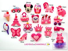 BABY GIRL'S ornaments, toys, magnets. Pink cute ornaments, gifts, girls room decor - price per 1 item - Castle,Minnie,Crown,Pram
