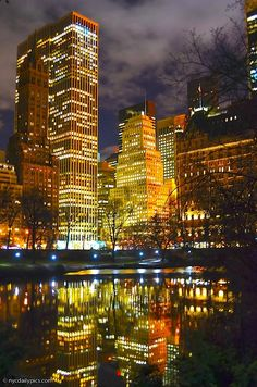 Midtown Manhattan tonight. View from The Pond in Central Park